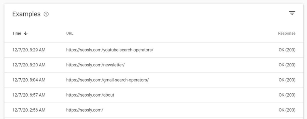 Example URLs in crawl stats report in Google Search Console