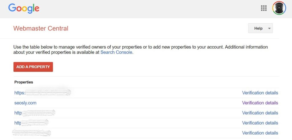 Choosing the property in Google Search Console