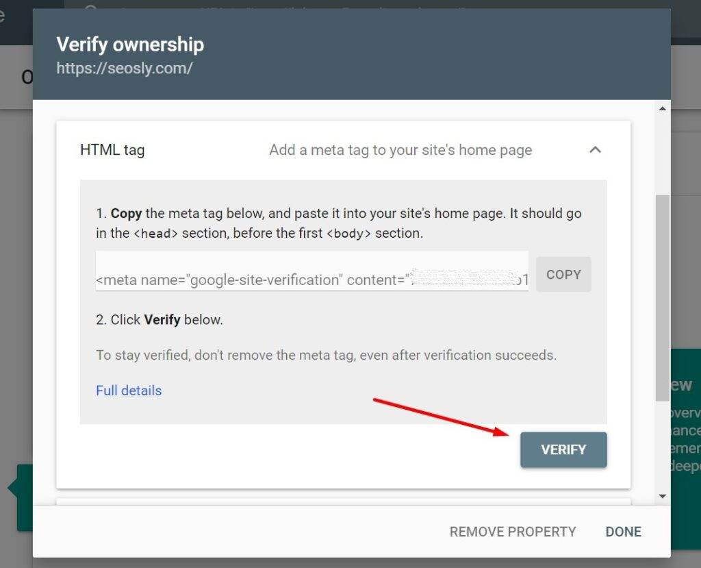 Verifying ownership in Google Search Console