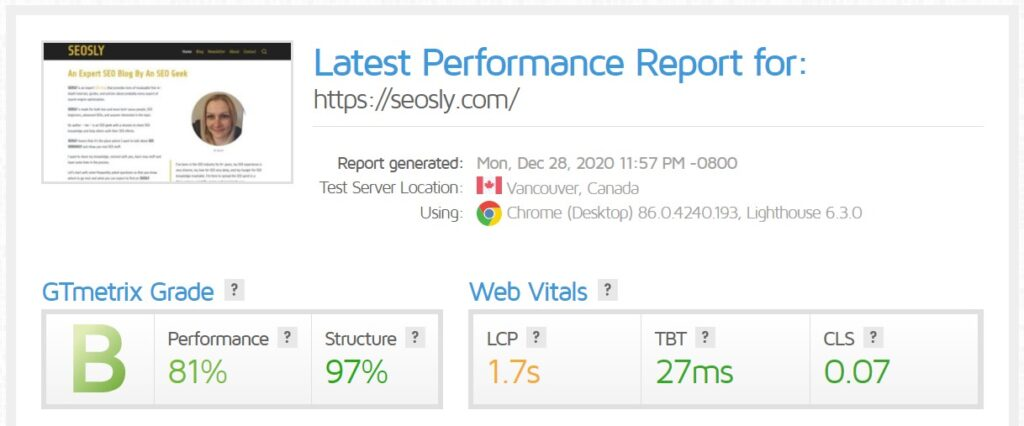 WP Rocket review: GTmetrix speed results without any caching plugin