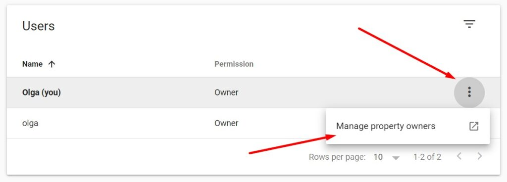 Adding a new owner in Google Search Console