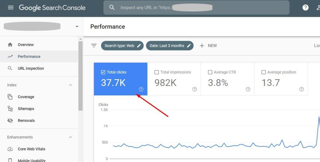 Total clicks in Google Search Console