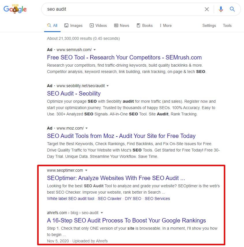 Organic traffic in Google