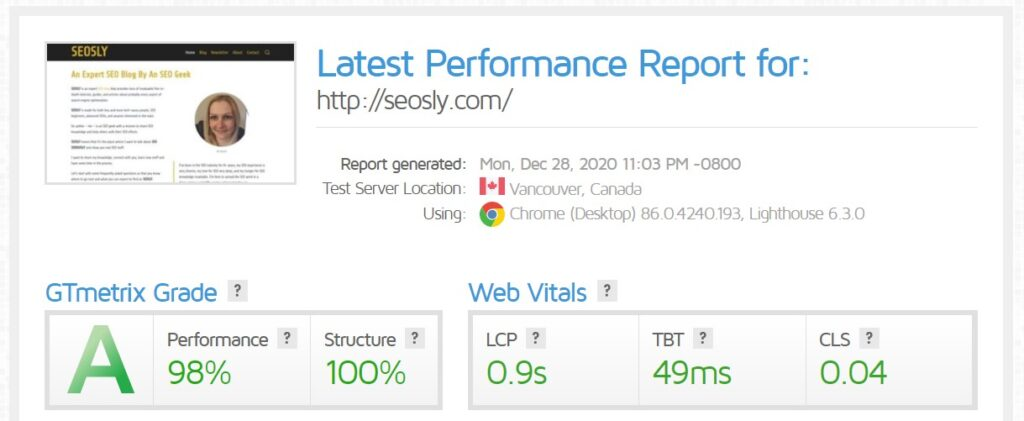 WP Rocket review: GTmetrix results for the homepage with WP Fastest Cache