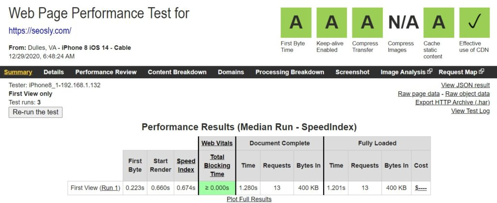 WP Rocket Review: Results of Web Page test with WP Rocket