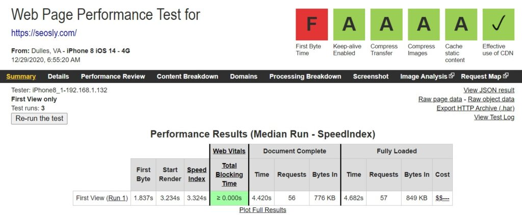 WP Rocket Review: Web Page Test results without WP Rocket