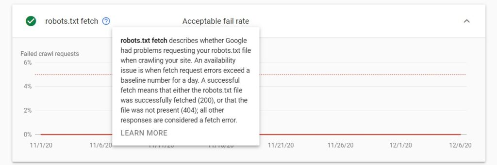 robots.txt fetch details in crawl stats report in Google Search Console