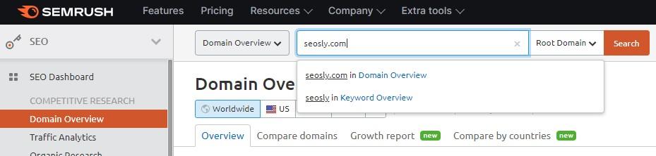Checking domain in SEMRush