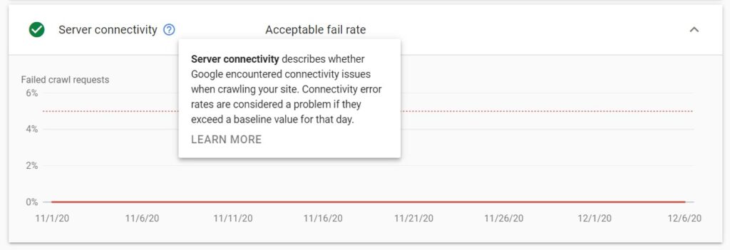 server connectivity details in crawl stats report in Google Search Console