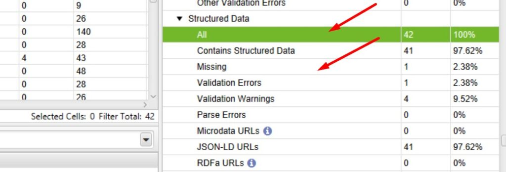 Structured data in Screaming Frog