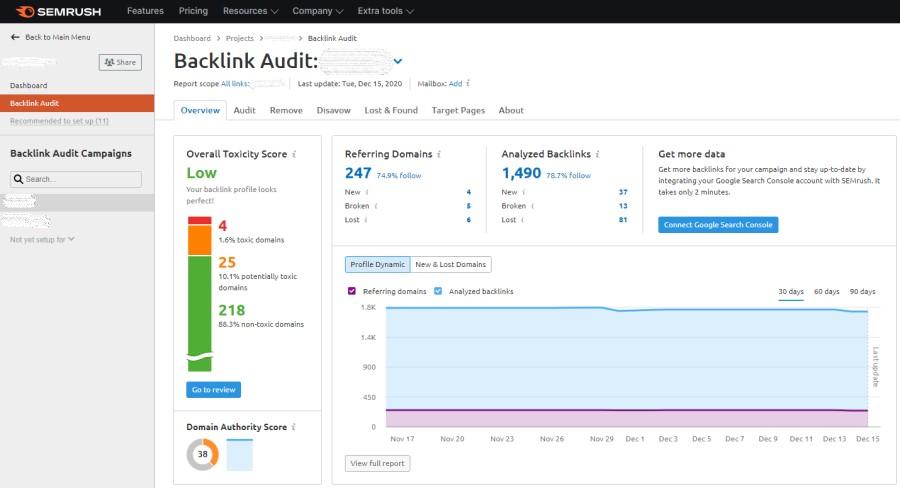 Backlink audit in SEMRush
