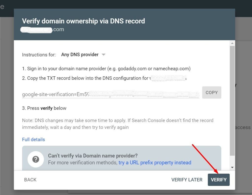 Verifying a new owner in Google Search Console