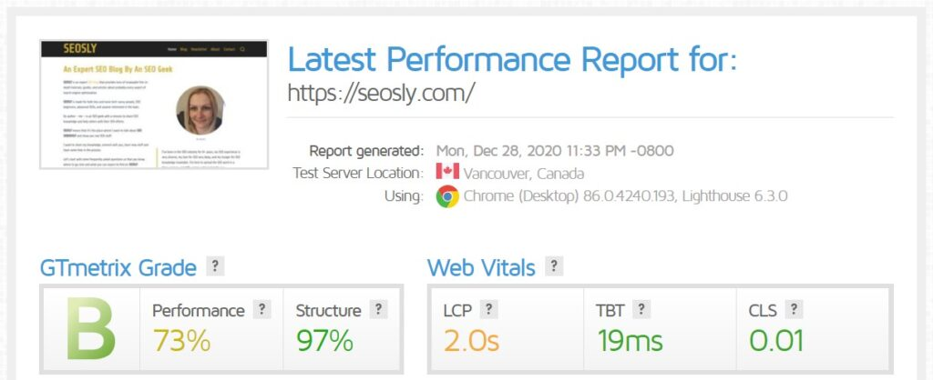 WP Rocket review: GTmetrix results for the homepage with Autoptimize