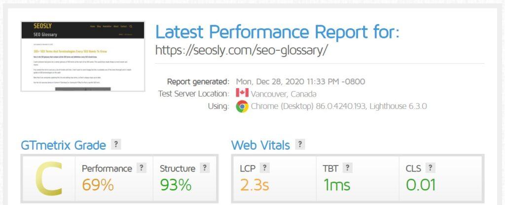 WP Rocket review: GTmetrix results for a web page with Autoptimize