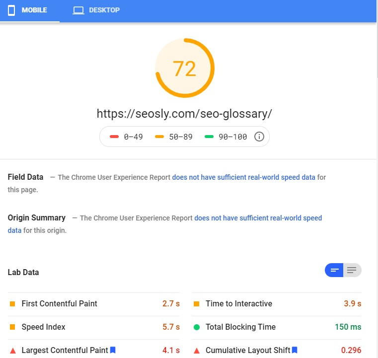 Google PageSpeed Insights results for a web page with Autoptimize