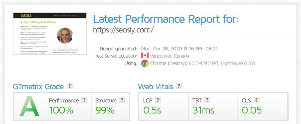 wp rocket review gtmetrix homepage