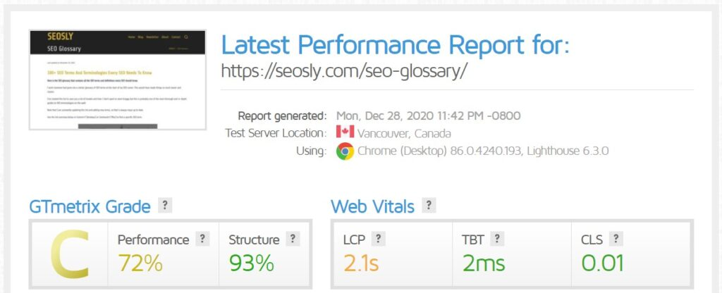 WP Rocket review: GTmetrix results for a web page with Hummingbird