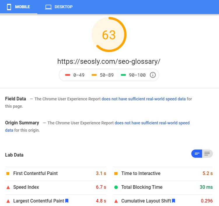 Google PageSpeed Insights results for a web page with LiteSpeed Cache