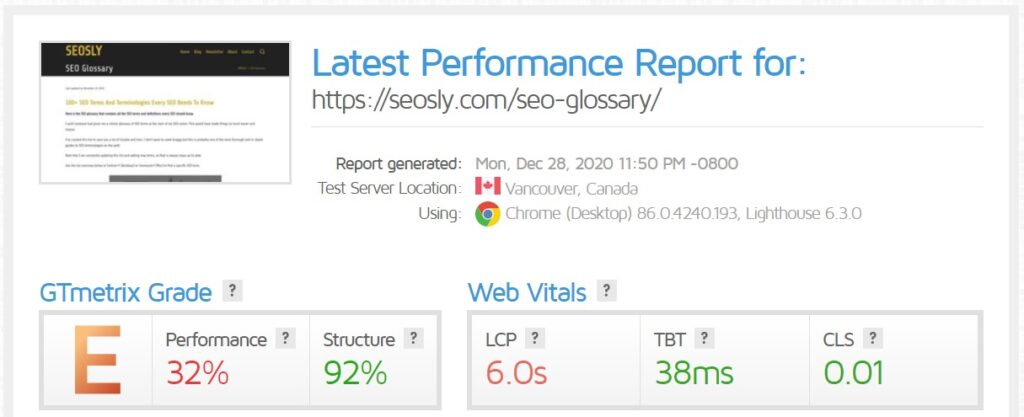 WP Rocket review: GTmetrix results for a webpage with LiteSpeed Cache