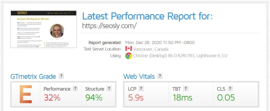 WP Rocket review: GTmetrix results for a homepage with LiteSpeed Cache