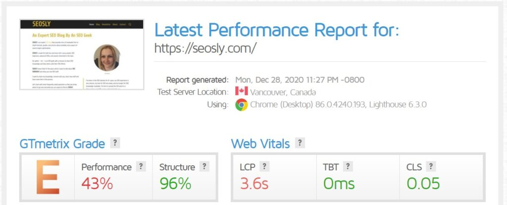 WP Rocket review: GTmetrix results for the homepage with WP Rocket