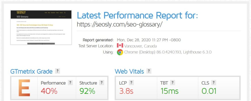 WP Rocket review: GTmetrix results for a web page with W3 Total Cache