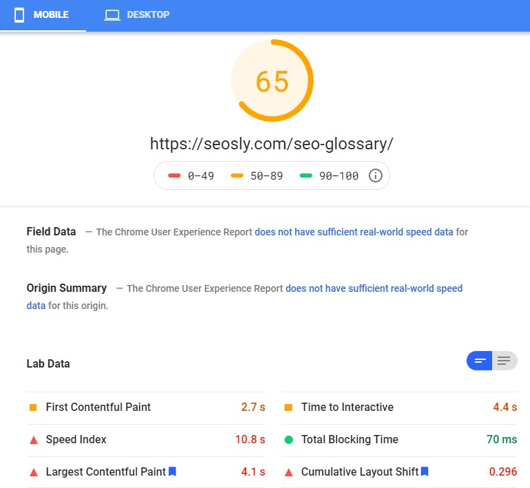 Google PageSpeed Insights results for a web page with W3 Total Cache