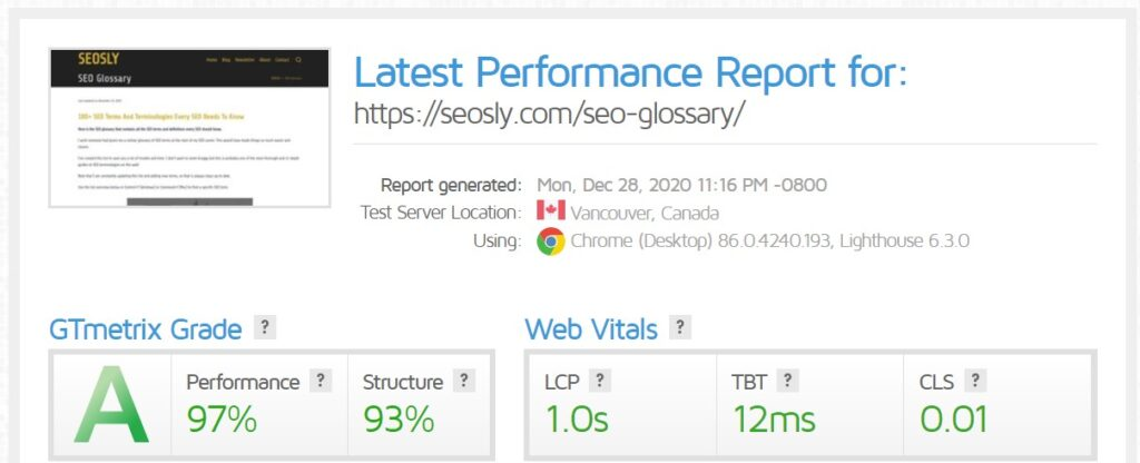 WP Rocket review: GTmetrix results for a web page with WP Fastest Cache