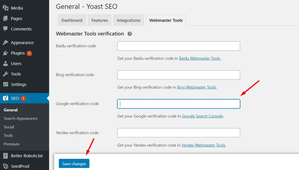 Pasting the GSC verification code in Yoast SEO