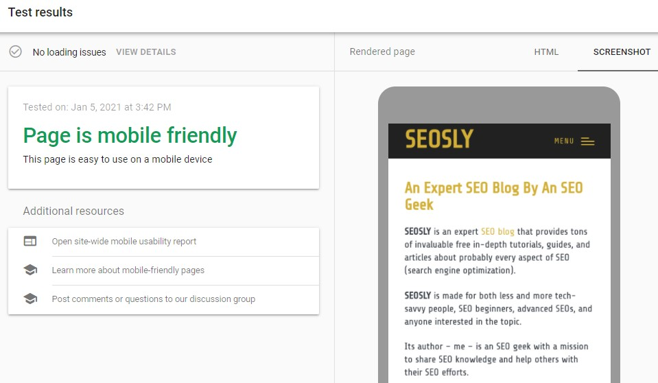 Check if website is mobile friendly