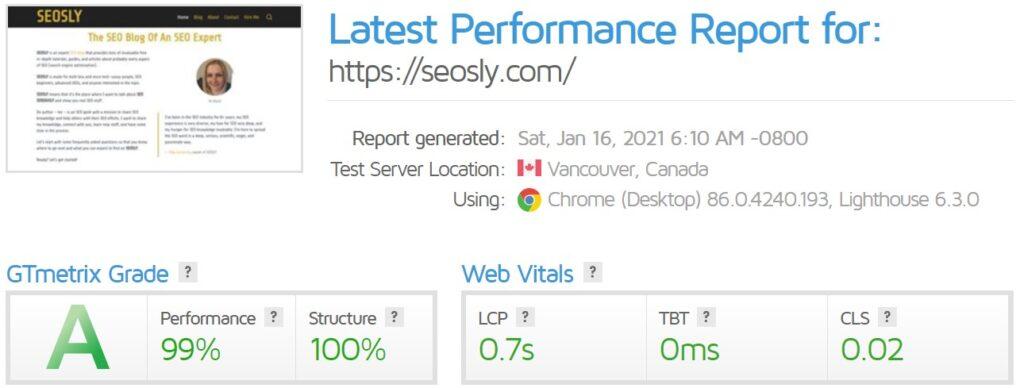 Core Web Vitals in GTmetrix