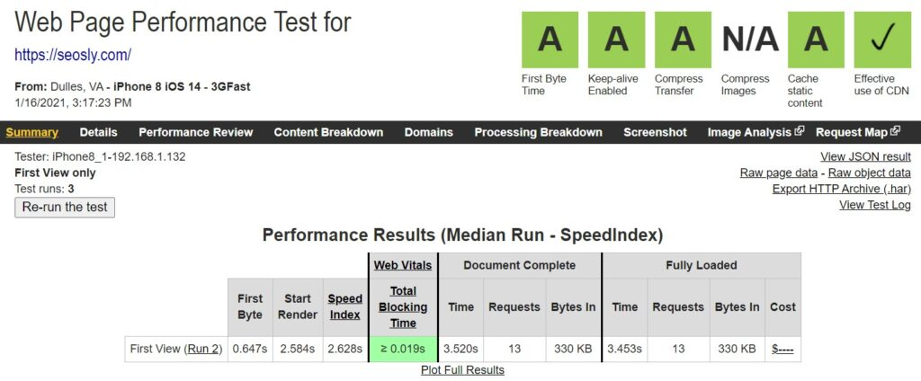 core web vitals web page test results