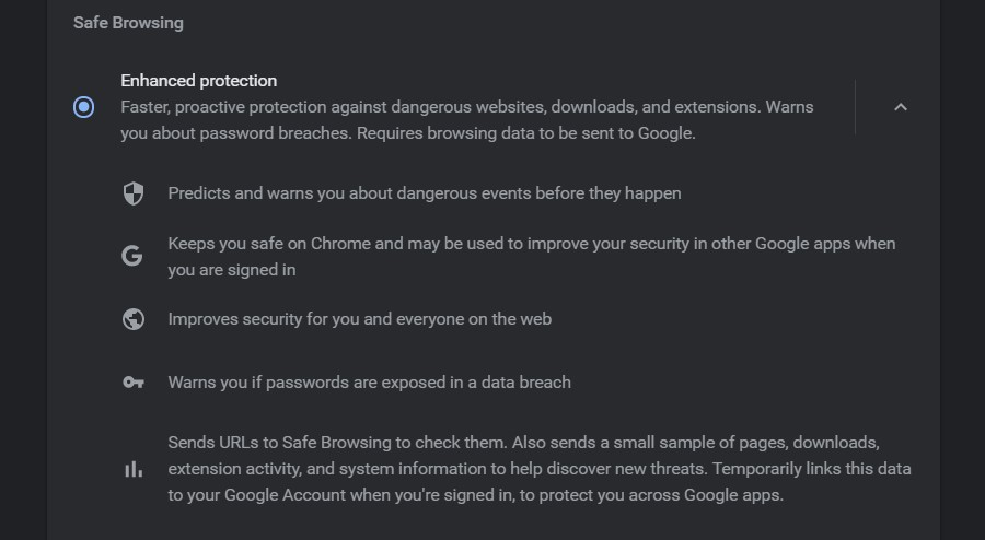 Enhanced protection in Safe Browsing in Google Chrome