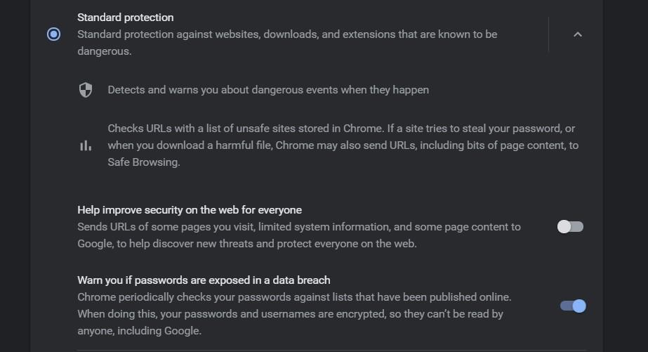 Standard Safe Browsing in Google Chrome