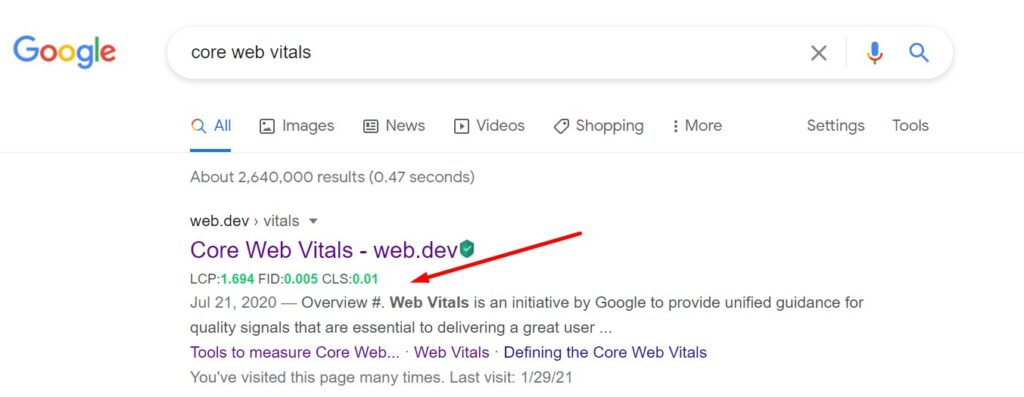 Measuring CLS via Web Vitals Extension