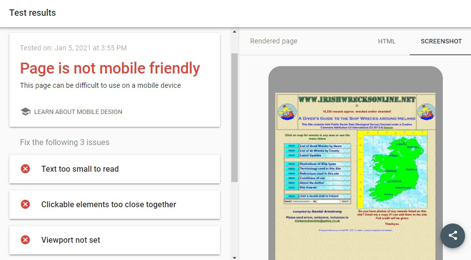 Example of a website that is not mobile-friendly