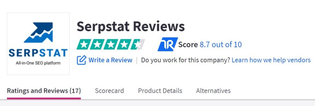 Serpstat review: TrustRadius