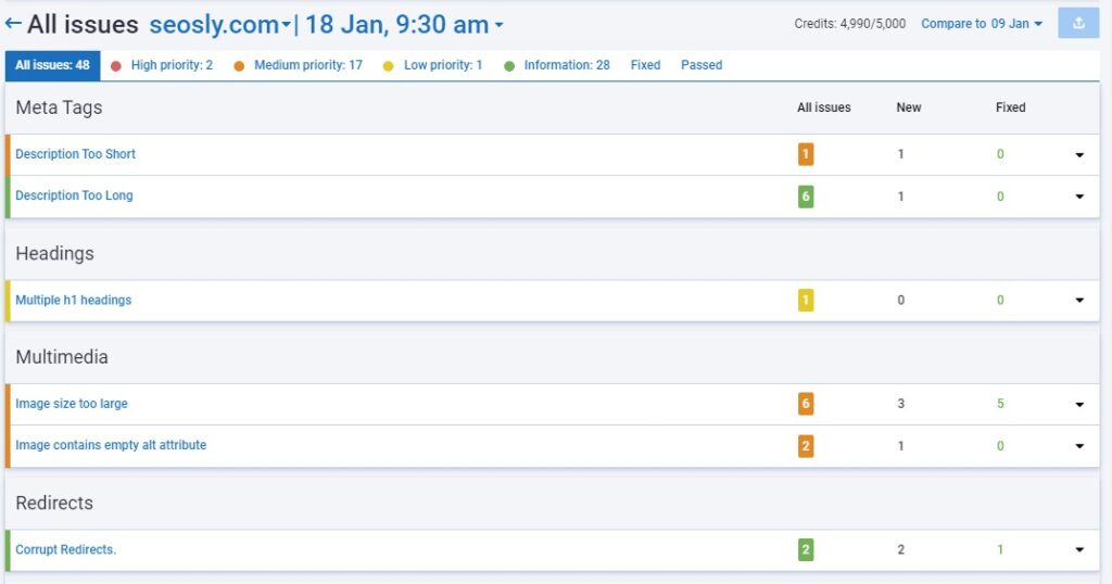 All issues in SEO site audit in Serpstat