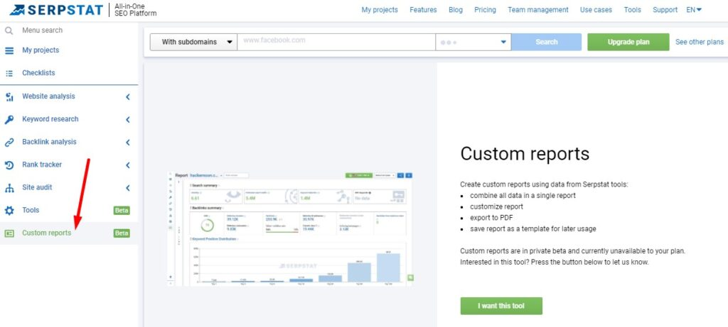 Review of Serpstat: custom reports
