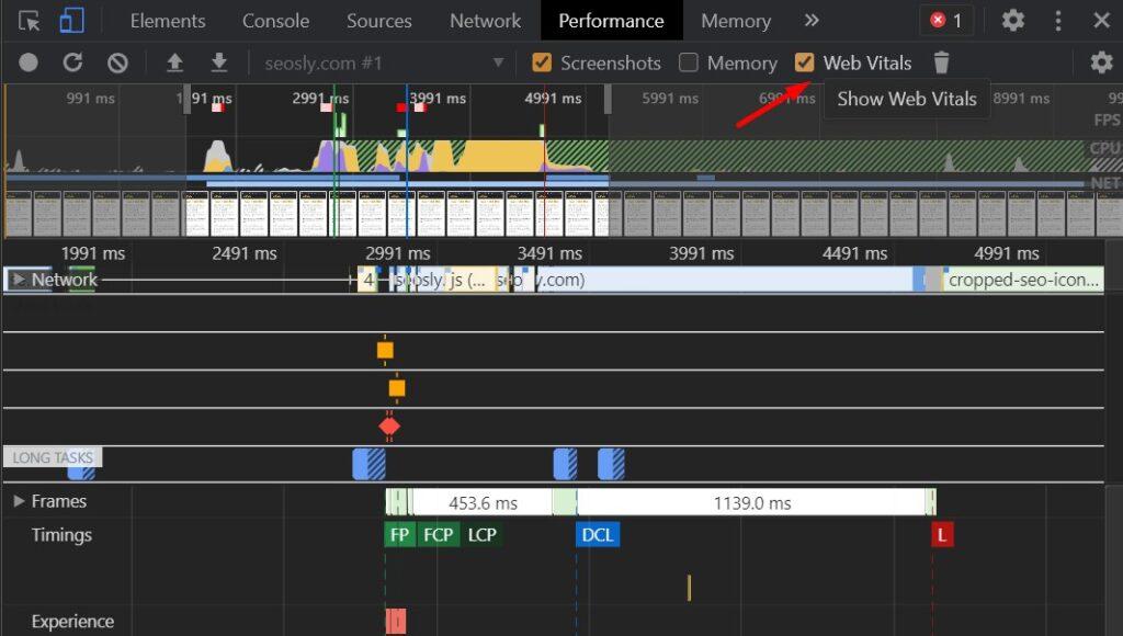 Using Chrome DevTools to check CLS