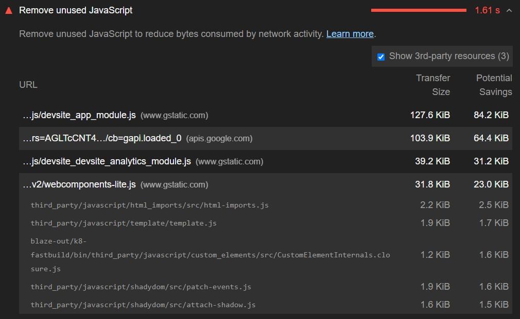 Removing unused JavaScript to improve FID