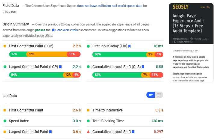 Core Web Vitals Audit tools: Google Page Speed Insights