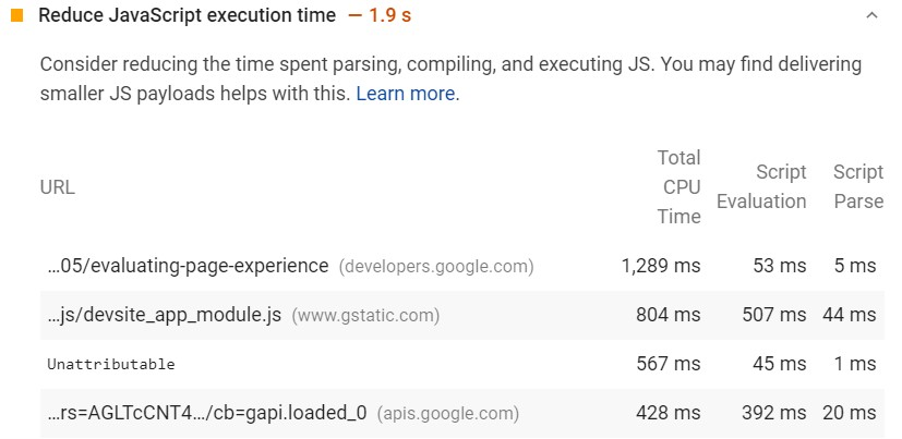 Core Web Vitals and JavaScript execution time reduction