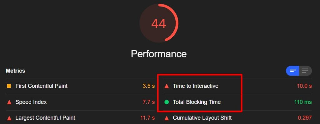 Core Web Vitals audit: Time to interactive and total blocking time