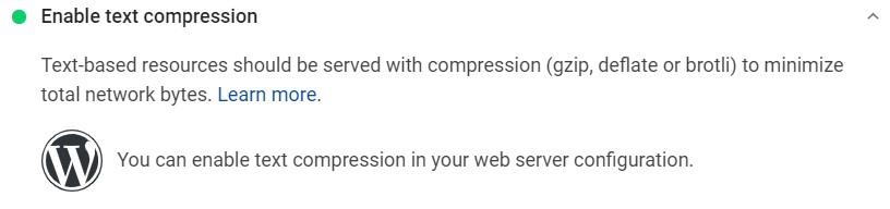 Text compression to improve Core Web Vitals
