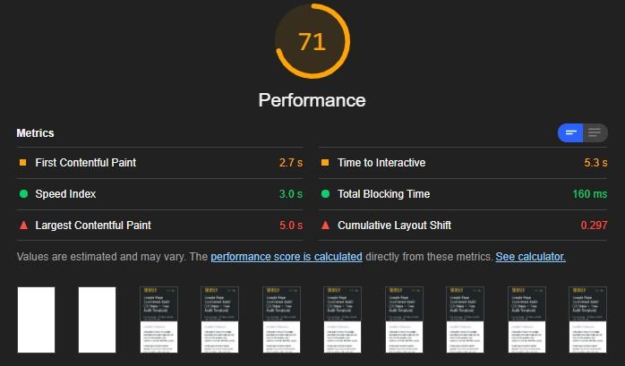 Core Web Vitals Audit tools: Lighthouse