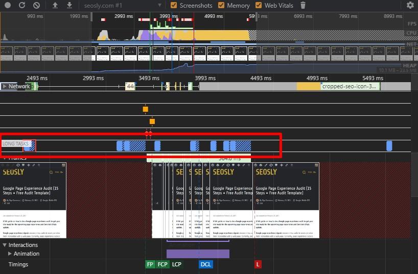 Long tasks in Chrome DevTools
