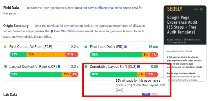 Cumulative Layout Shift in Google PageSpeed Insights