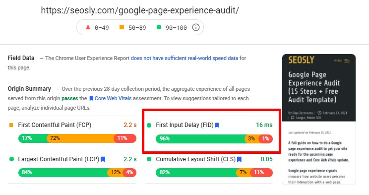 First Input Delay in Google PageSpeed Insights