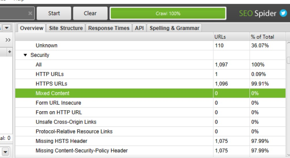 Google Page Experience Audit: Checking mixed content using Screaming Frog